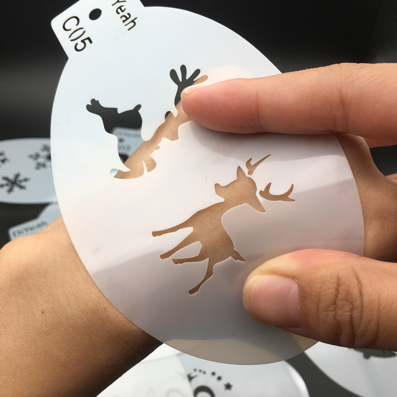 9PCS / Set  Pumpkin Bell Snowflake Plastic Stencils Body Painting Face Art Makeup Stamps Halloween Witch Christmas Elk Series C