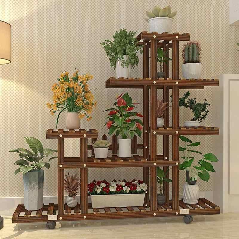ชั้นวางไม้สำหรับรัก Bunga Escalera Decorativa Madera ในร่มกลางแจ้ง Stojak Na Kwiaty ระเบียงชั้นวางดอกไม้ยืน