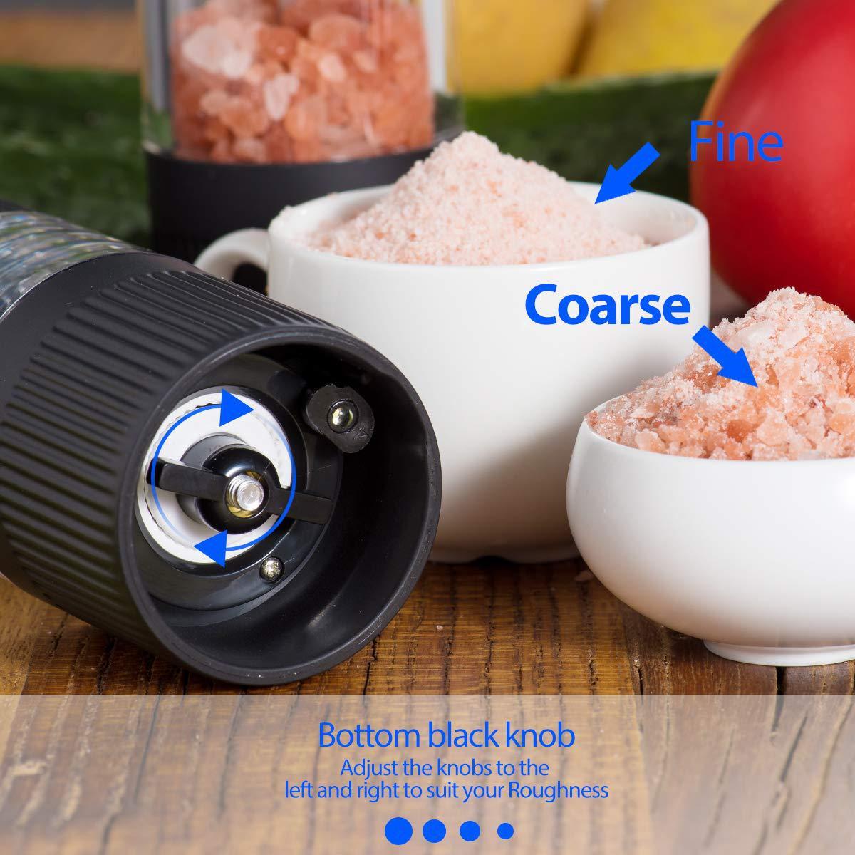 Electric Salt and Pepper Grinder Set Black Adjustable Coarseness Mills Home Grinding Tools Kitchen Accessories