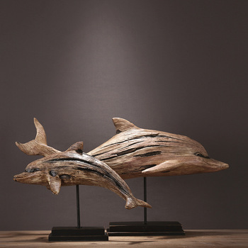 New Mediterranean Resin Imitation Wood Effect Dolphin Crafts Home Decoration Ornaments