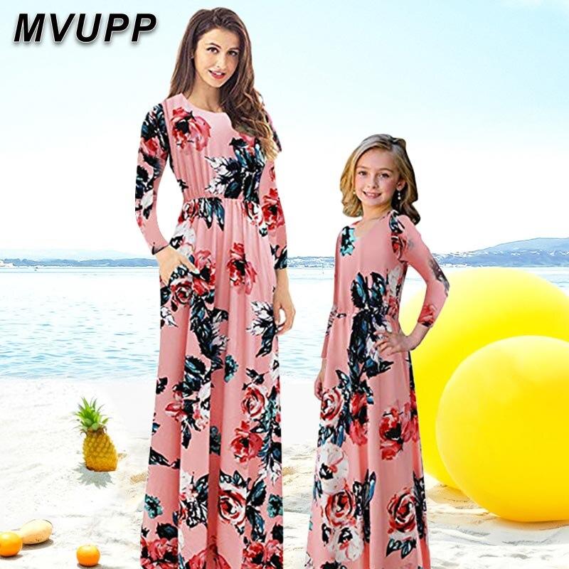 Платья для мамы и дочки, Одинаковая одежда для всей семьи, наряды для мамы и дочки, зимняя одежда с длинным рукавом для мамы и маленькой сестр...