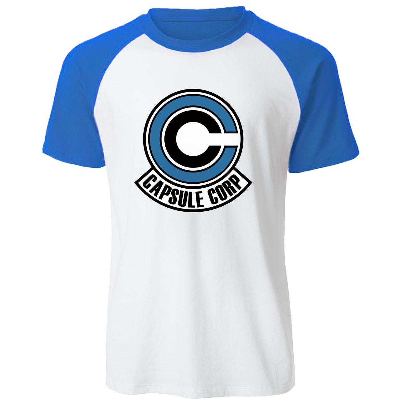 Anime Dragon Ball Z Men T Shirt 2019 New Summer 100% Cotton Raglan Harajuku Mens T-shirt Fashion Capsule Corp Print Tops Tees