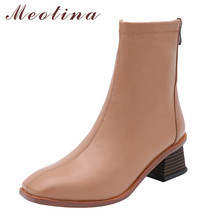 цена на Meotina Ankle Boots Women Shoes Genuine Leather High Heel Short Boots Square Toe Block Heels Zipper Boots Ladies Autumn Brown 42
