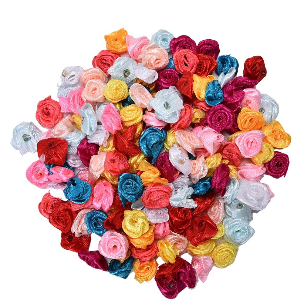100 шт. атласная роза ручной работы лента розочки мини ткань цветок лук Аппликации для свадебного украшения Ремесло Швейные аксессуары