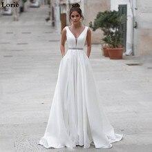 Lorie satynowe suknie ślubne V Neck suknie panny młodej przyciski Vestido de novia Boho elegancka suknia ślubna dla kobiet wykonane na zamówienie