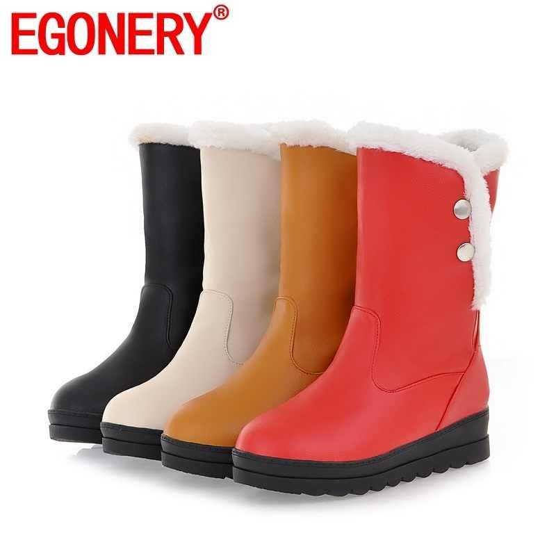 EGONERY kış yeni özlü kar botları dış casual peluş sıcak rahat yuvarlak ayak perçin kadın ayakkabı damla nakliye boyutu 34 -42