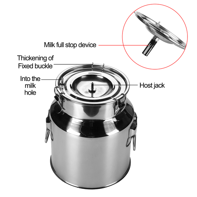14L Electric Milking Machine Stainless Steel Bucket For Farm Pasture Cows Goats Stainless Steel Bucket Cow Goat Sheep Milker 1