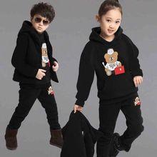 Повседневная Толстая теплая одежда для девочек комплект из 3