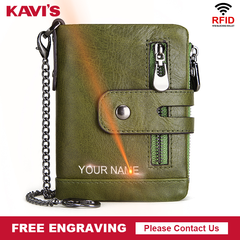 KAVIS Free Engraving Genuine Cow Leather Wallet Men Coin Purse Male Cuzdan PORTFOLIO MAN Portomonee Small Mini Walet Pocket