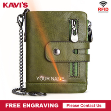 KAVIS Free Engraving Genuine Cow Leather Wallet Men Coin Purse Male Cuzdan PORTFOLIO MAN Portomonee Small Mini Walet Pocket