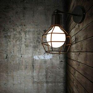 Image 2 - בציר מנורת קיר תעשייתי קיר אור LED פמוט אמריקאי רטרו קיר מנורת מתכת כיסוי אור עיצוב הבית תאורה קבועה