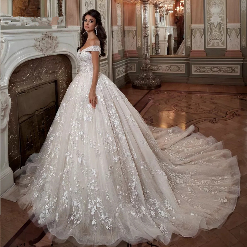 Off The Shoulder Short Sleeve Beading Crystal Sequins Luxury Ball Gown Wedding Dresses Plus Size 2020 Vestido De Noiva Princesa