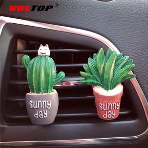 Image 3 - Sukkulenten Kaktus Auto Dashboard Dekoration Air Outlet Parfüm Clip Ornamente Auto Zubehör Innen Hängenden Anhänger