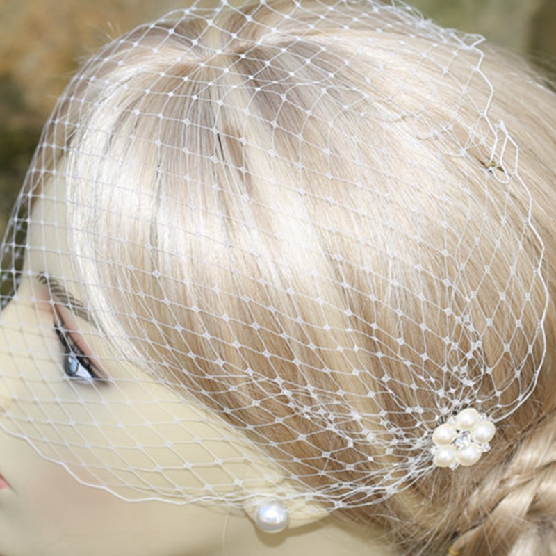 Купить с кэшбэком White pearl wedding veil bridal birdcage veil cathedral wedding veil wedding accessories