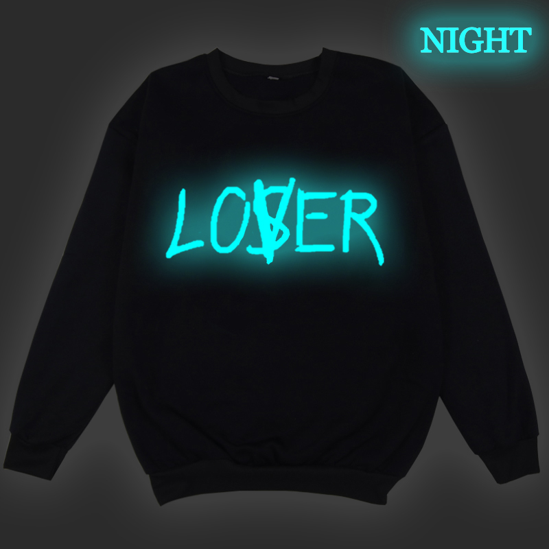 LOSER Luminous Print Swearshirts Men Hoodie Harajuku Sweatshirt Women Clothing Streetwear Moletom Masculino Winter Teens Clothes