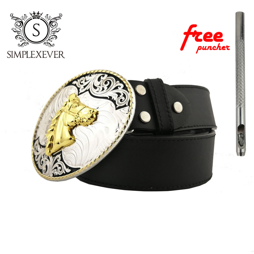 Golden Horse Fashion Men's Belt Buckles Classic Mens Jeans Accessories Cowboy Cowgirl Metal Belt Buckle