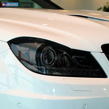 2 pçs carro farol película protetora transparente preto tpu etiqueta para mercedes benz c classe w204 c63 amg 2011-2014 acessórios