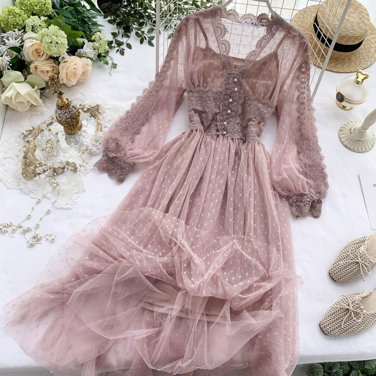 Lace Floral V-Neck Long Sleeve Polka Dot Dress 32