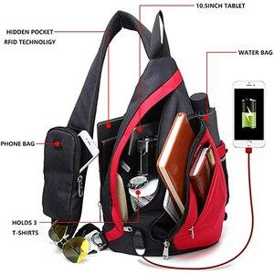 """Image 2 - Erkek kadın omuz çantaları USB şarj Crossbody çanta Anti hırsızlık göğüs çantası büyük kapasiteli 10.5 """"Ipad cep telefonu kısa gezisi çanta"""