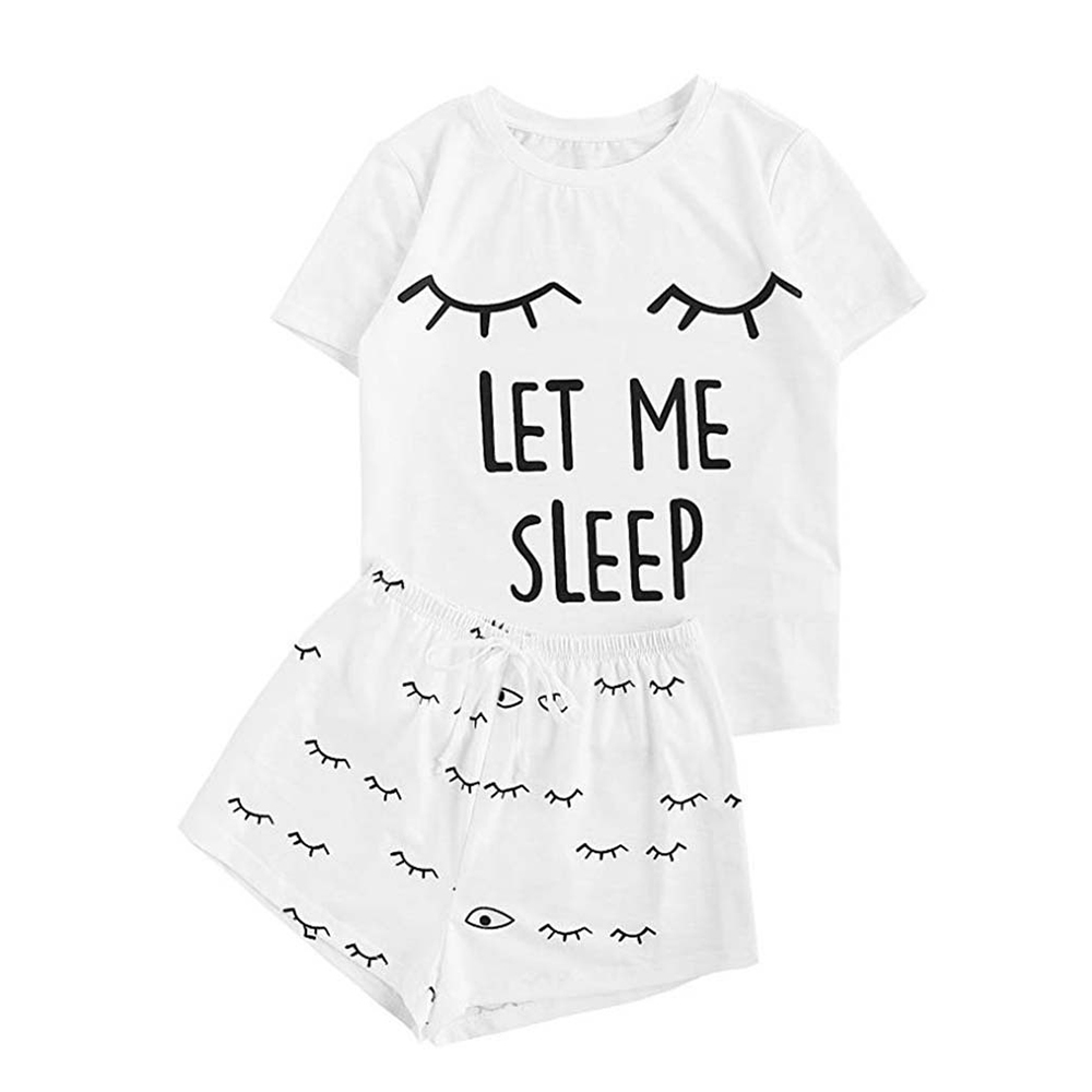 Letter Pajama Set Women Cute Cat Print Short Sleeve T-shirt Shorts Sleepwear Pajama Set Pajamas For Women Pajamas Set For Women