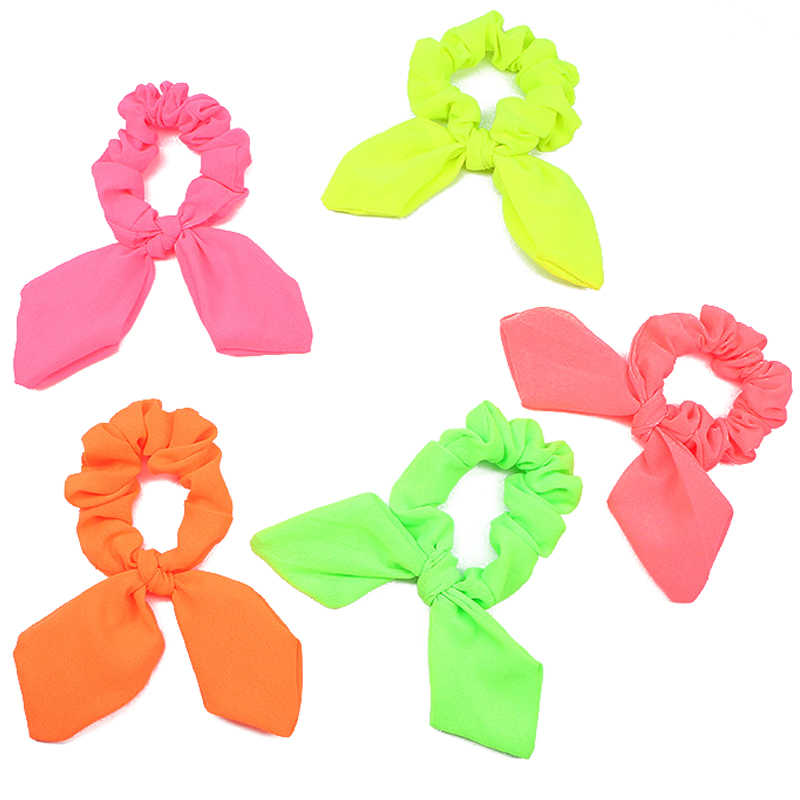 New Arrival Fashion Women Fluorescent Color Bow Hair Tie Neon Color Hair Scrunchies Girls Candy Ponytail Holder Hair Accessories
