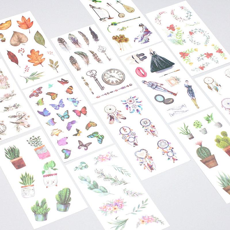 6sheet/set Scrapbook Cute Stickers Cartoon Unicorn Transparent Handbook DIY Album Cup Decoration Stickers Kids Toys Tape