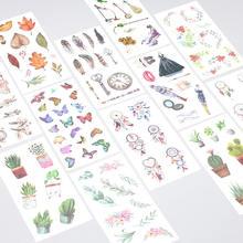 Adesivos de desenhos animados de unicórnio, 6 folhas/conjunto, transparente, manual, diy, álbum, copo, decoração, adesivos, brinquedos infantis, fita