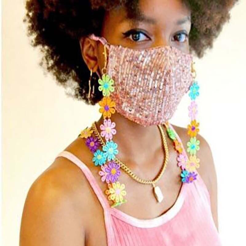 2020 bonito feito à mão colorido flor máscara corrente para mulher menina máscara pescoço titular máscara acessórios declaração colar óculos correntes