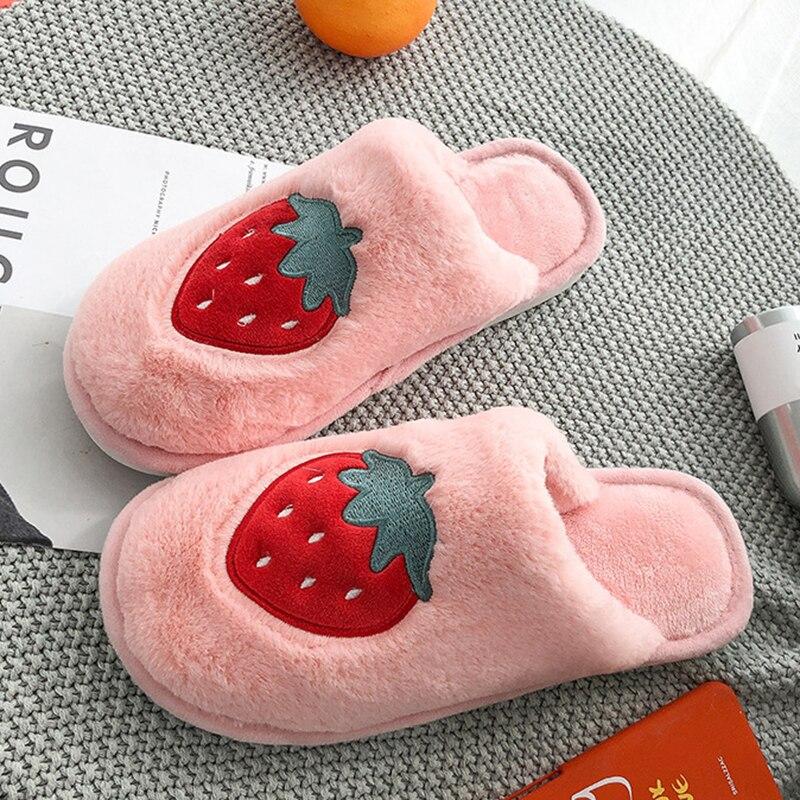 SWQZVT Indoor furry slippers women 2020 fruit print bedroom fur slides women shoes non-slip flat soft house floor female slipper (48)
