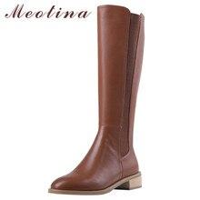 Meotina Herbst Reitstiefel Frauen Natürliche Echte Leder Chunky Ferse Kniehohe Stiefel Zipper Round Toe Schuhe Dame Winter 39