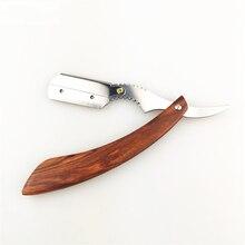 Red Rosewood Knife Holder Manual Razor Shaving Knife Razor Haircut Razor Stainless Steel Straight Razor Holder G1105