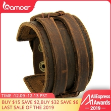 BAMOER кожаные манжеты двойной широкий браслет веревка браслеты коричневый для мужчин модный мужской браслет унисекс ювелирные изделия подарок PI0296