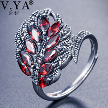 V.YA Authentic 925 Sterling Silver Rings Synthesis Clear CZ Open Feather Ring Wedding Fashion Jewelry