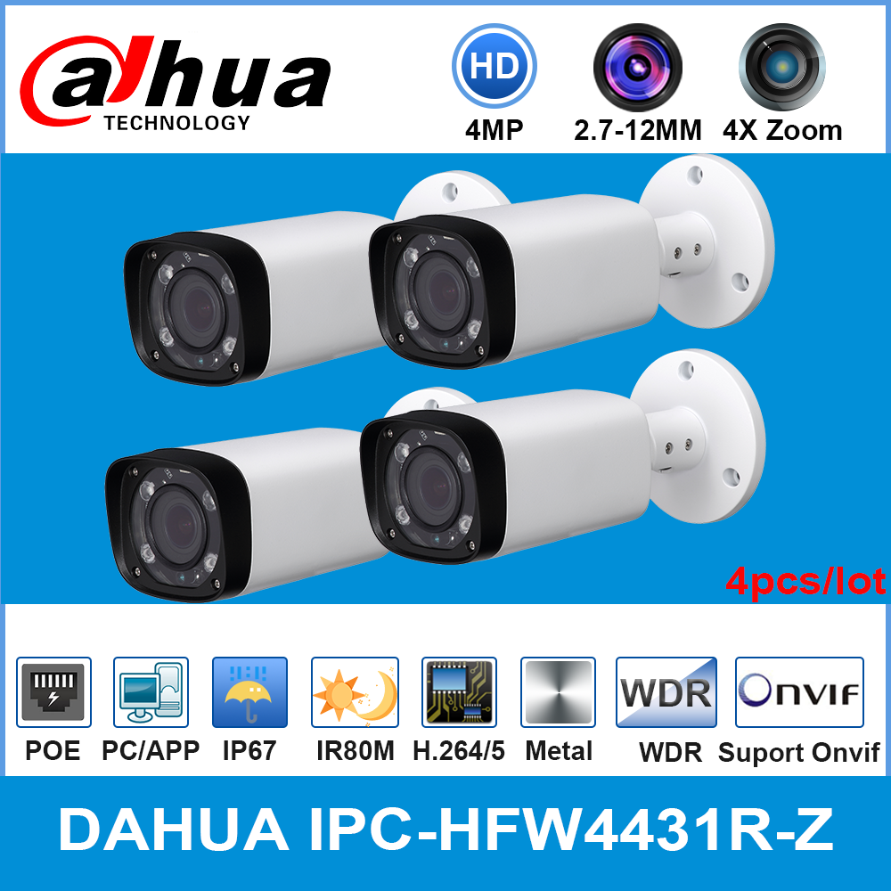 <font><b>Dahua</b></font> IPC-HFW4431R-Z <font><b>4MP</b></font> POE <font><b>IP</b></font> <font><b>Camera</b></font> 80m MAX IR Night 2.7~12mm VF lens Motorized Zoom Auto Focus Bullet Security 4pcs/lot image
