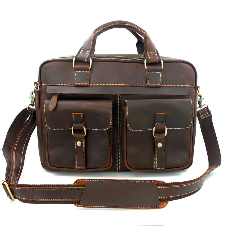 MAHEU Men Briefcase Business Bag Real Cowskin Men Male Handbags Laptop Bag 15.6 Inch Computer Bag Men's Leather Bags Totes