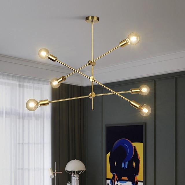Lustre moderne noir pour salle à manger luminaires Art déco Restaurant doré suspension lampe salon chambre Lustre Angle réglable