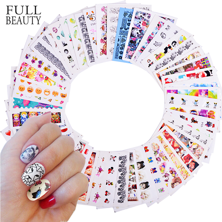 50pcs Mixed Designs Nail Sticker Beauty Flower Water Transfer Decal Watermark Nail Art Decoration For Manicure Watermark CHM50-1