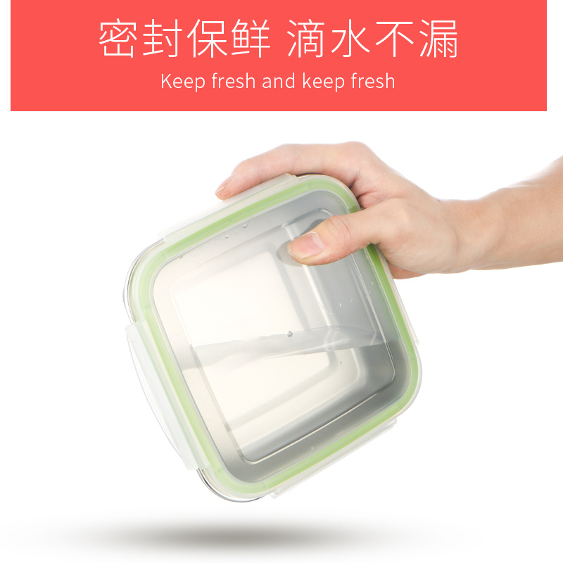 304 Stainless Steel Freshness Box Square Refrigerator Storage Sealed Box Soup Bowl Lunch Box Container Three-piece Set-