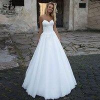 SoDigne Sexy A Line Wedding Dress White Lace Appliques Sweetheart Boho Bride Dresses Beach wedding Gown 2020 vestidos de novia