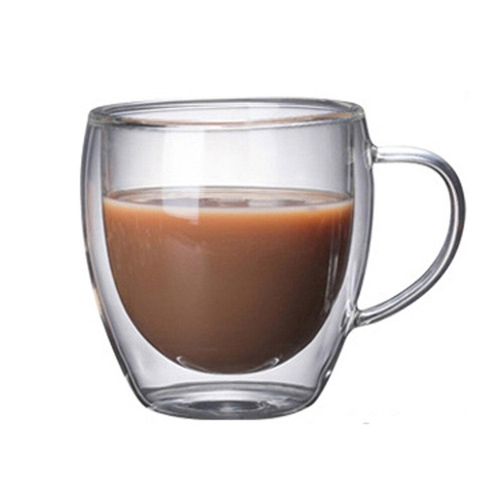 Прозрачная двойная стеклянная чашка, Офисная чашка для кофе с защитой от ожога и ручкой, изоляционное стекло для питья, чайная чашка, подарочная посуда для молока|Другие стаканы| | АлиЭкспресс