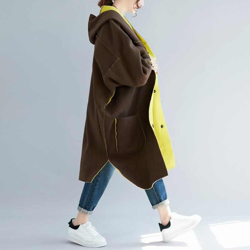 플러스 사이즈 여성을위한 두꺼운 벨벳 코트 특대 뒤집을 수있는 착용 양털 후드 자켓 가을 겨울 batwing 느슨한 캐주얼 긴 모직 코트 윈드 파킹 4xl 5xl 6xl 7xl 2019
