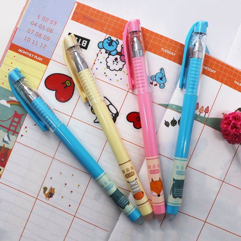 3 6Pcs set Cute Erasable Pen 0 5mm Black Blue ink Magic Gel Pen For School Office Writing Supply Kawaii Student Exam Spare Tool