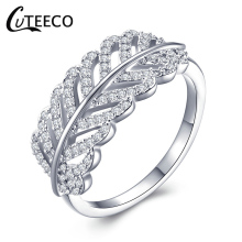 CUTEECO Brand Classic Popular Silver Color Leaves Finger Rings with AAA Zirconia Cheap Ring Women Fashion Jewelry