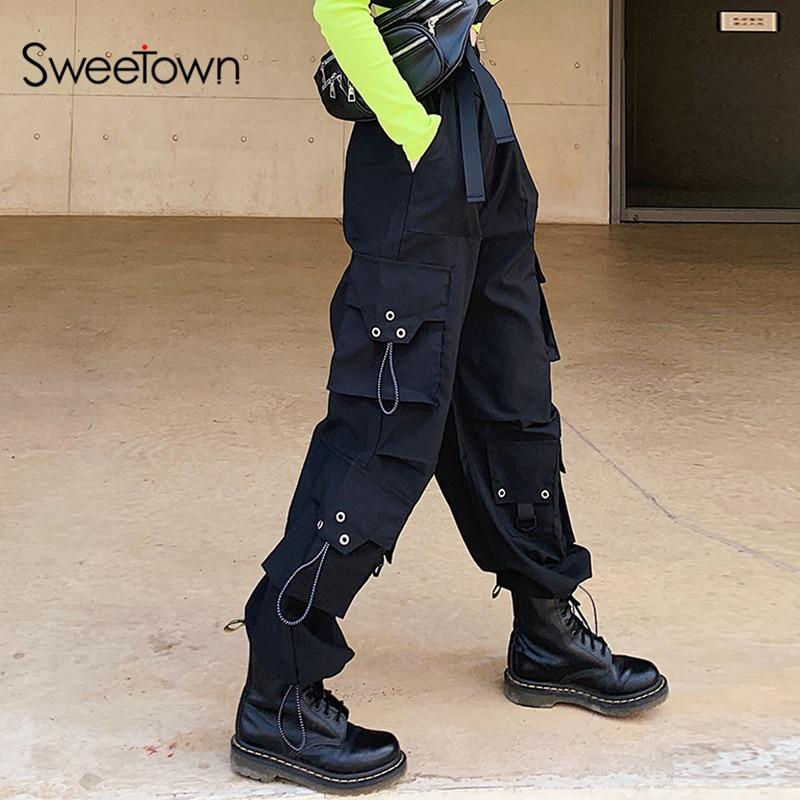 Sweetown Casual Loose Wide Leg Cargo Pants Women Elastic High Waisted Baggy Trousers Harajuku Japanese Hip Hop Streetwear Pants