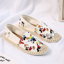 Disney summer new girl small cloth shoes boys girls lazy woven shoes childrencasual shoes Mickey Mouse women's shoes