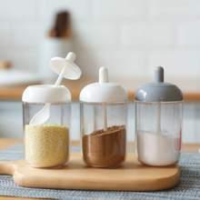 Kitchen Glass Seasoning Bottle Salt Storage Box Spice Jar with Spoon Kitchen Supplies for Sugar Salt Pepper Powder kitchen tools цена 2017