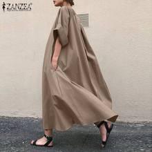 Plus size vintage sólido baggy vestido feminino primavera vestido de verão 2021 zanzea casual manga longa maxi vestidos femininos o pescoço robe femme