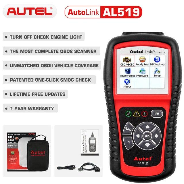 Autel oryginalny OBD2 narzędzie diagnostyczne do samochodów skaner samochodowy AL519 OBD 2 EOBD kod błędu czytnik urządzenia do skanowania Escaner Automotriz