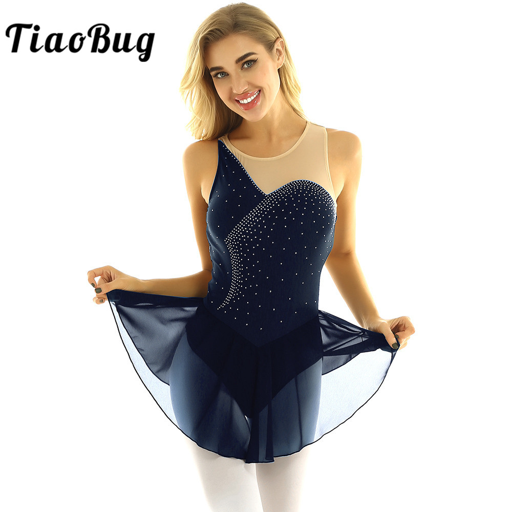 TiaoBug Women Sleeveless Shiny Rhinestones Mesh Figure Skating Dress Gymnastics Leotard Ballet Dance Wear Performance Costume