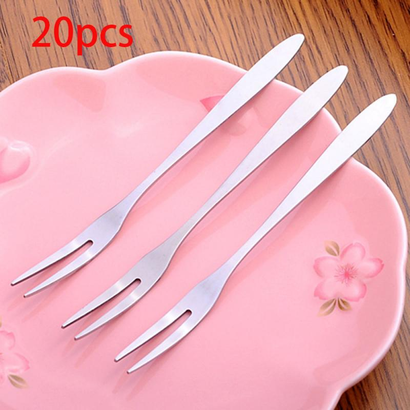 Dessert Forks Snack Kitchen-Accessory Cake Cafeteria Stainless-Steel Tableware Two-Tine title=